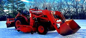 Kubota diesel tractor 4X4 with loader mower rototiller