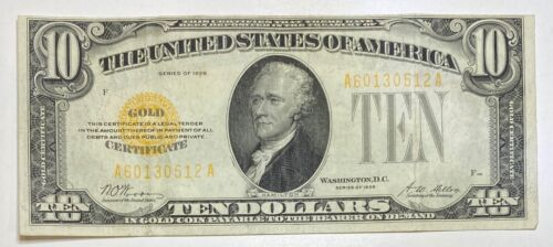 1928 Small $10 Gold Certificate Currency Note Serial #60130512