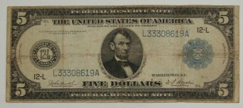 1914 - Large Size $5 Federal Reserve Note St. Francisco - Burke/Houston