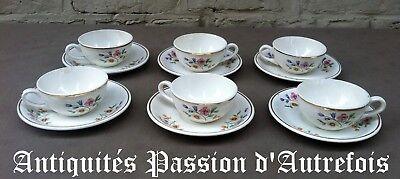 B2017761 - 6 tasses et sous tasses porcelaine opaque de Saint Amand décor Gipsy
