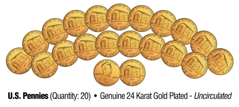 Lot of 20 LINCOLN BICENTENNIAL 2009 Pennies UNC Coins 24K Gold Plated BIRTHPLACE