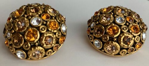 Vintage Joan Rivers Gold Tone With Amber Colors Ornate Clip On Earrings