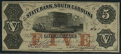 S 508  5 State Bank South Carolina Red  Five  Overprint May 12 1860 Bt8800