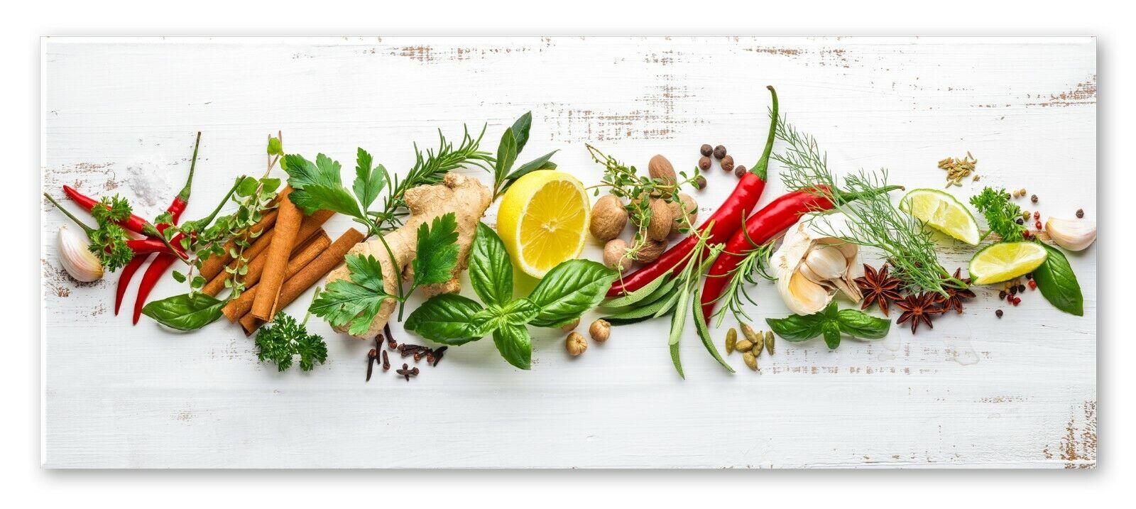 Küchenbild Shabby Herbs | Kräuter Küche | Bild Glas Glasbild 30 x 80 x 0,4 cm
