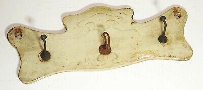Art Nouveau Hook Rail Wood Metal 3 Hook Wardrobe Vintage Decoration