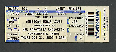 2002 American Idols unused concert ticket Kelly Clarkson Continental Arena NJ