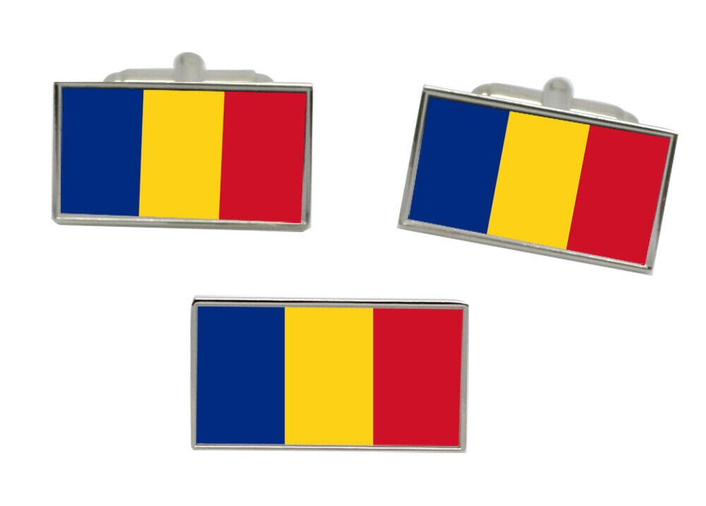 Rumänien Flagge Manschettenknöpfe und Krawattennadel Set