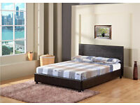 **FREE DELIVERY** DOUBLE 4FT6 BLACK LEATHER BED FRAME WITH MATTRESS OF CHOICE, SINGLE/KINGSIZE STOCK