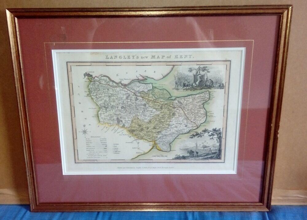 Genuine antique map of Kent by Edward Langley & William Belch-1820's-framed & glazed.