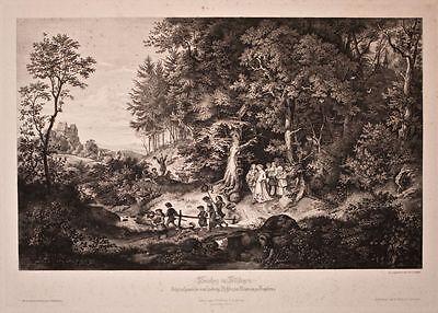Ludwig Friedrich - Brautzug im Frühling - Stahlstich nach Ludwig Richter - 1866