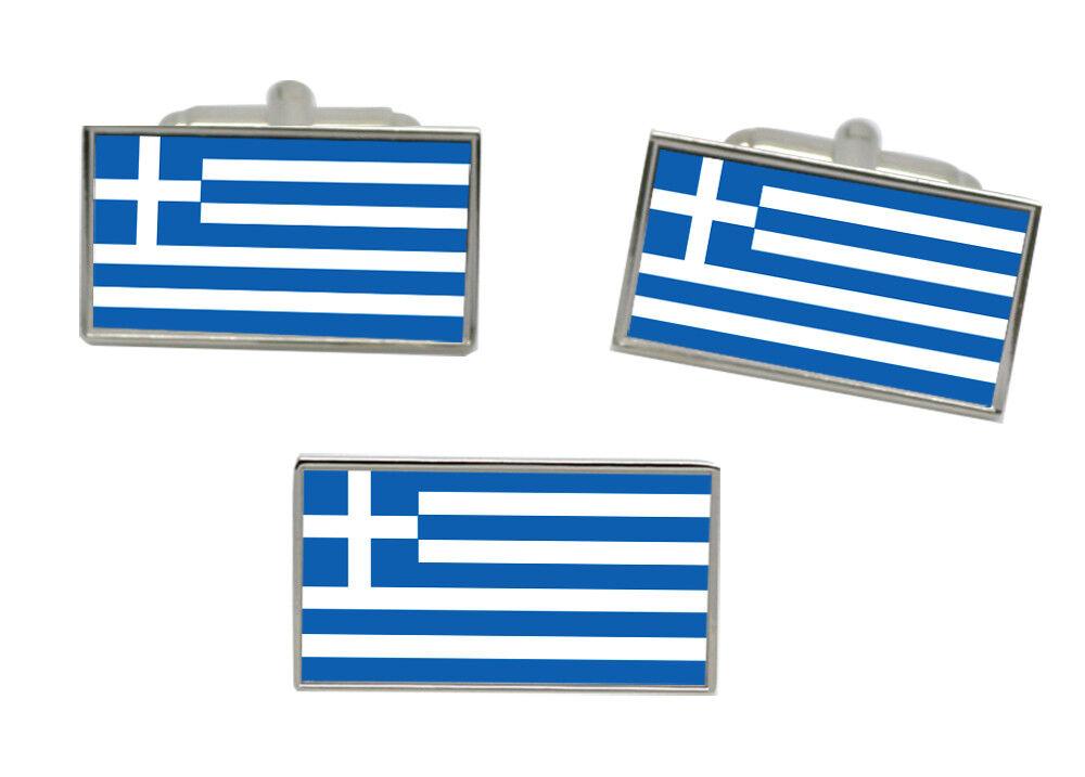 Griechenland Flagge Manschettenknöpfe und Krawattennadel Set