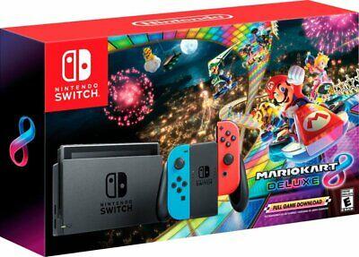 2020 Nintendo Switch w/ Mario Kart 8 Deluxe Console Bundle-Neon Red/Blue Joy-Con