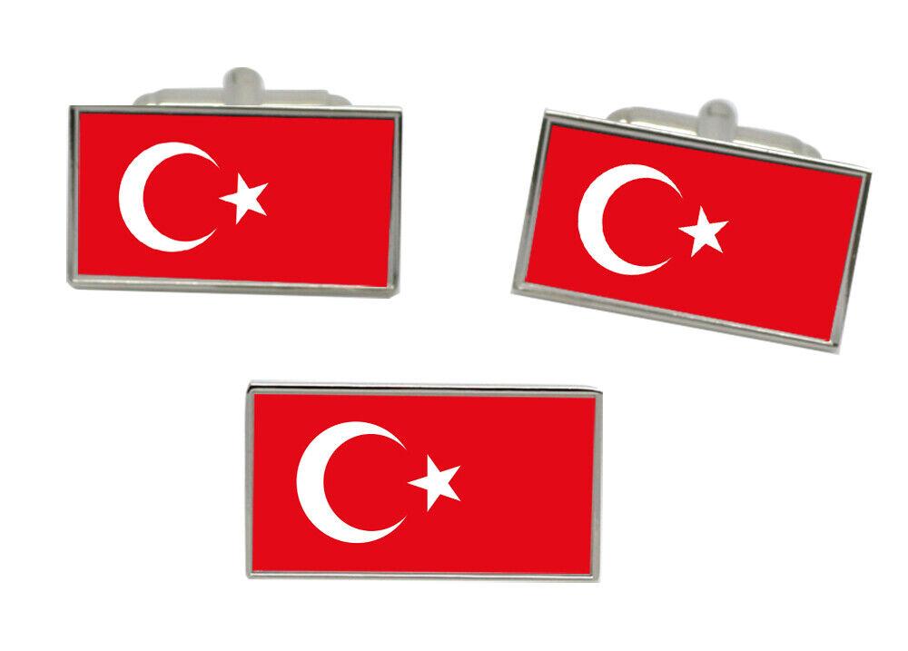 Türkei Flagge Manschettenknöpfe und Krawattennadel Set