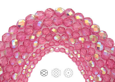 Pink Crystal Bead - Czech Glass Fire Polished Round Faceted Beads in Crystal Pink Rose AB coated 16