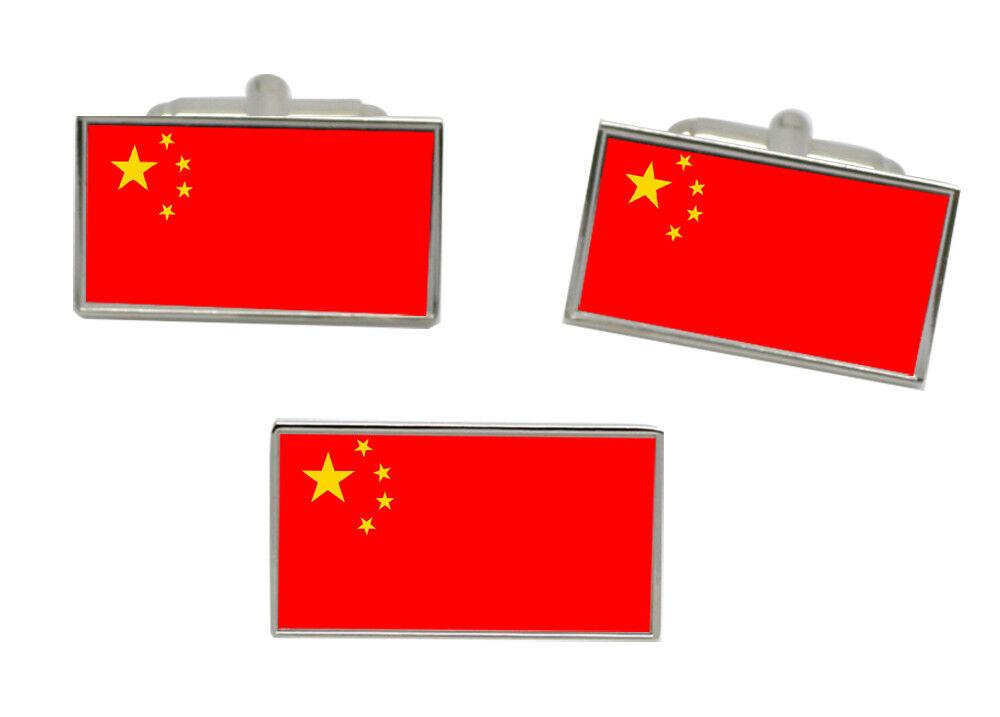 China Flagge Manschettenknöpfe und Krawattennadel Set