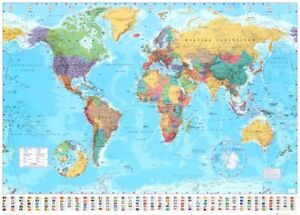 World Map Classic Wall Map Laminated (100x140)cm Huge Large Poster Office School