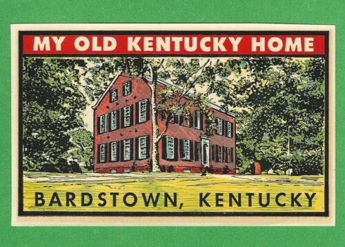 """ORIGINAL 1948 GOLDFARB """"MY OLD KENTUCKY HOME"""" BARDSTOWN KENTUCKY DECAL ART NICE"""