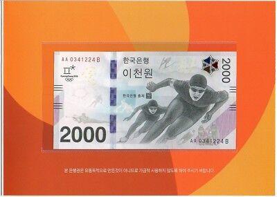 Korea South - 2000 Won 2017 2018 Winter Olympic comm. in Folder UNC Lemberg-Zp