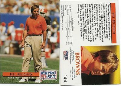 1992 Pro Set Bill  Belichick Error No Hc  Back  144 Ne Patritos
