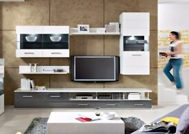 Living Room Furniture Set White Grey Gloss TV Unit Display Cabinet Avila New RRP