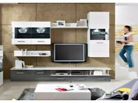 Living Room Furniture Set White & Grey Gloss TV Unit display cabinet Avila New RRP £765
