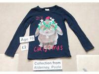 Girls Long-Sleeved Christmas Top - Age 10