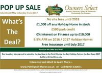 **POP UP SALE**Private Family run Park**East Yorkshire**Save money on your first caravan**