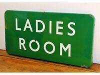 BR Southern Ladies Room British railway enamel sign rail train metal vintage antique decor mancave