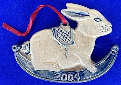 ROWE  POTTERY WORKS 2004 CHRISTMAS ROCKING RABBIT ORNAMENT MINT WITH BOX & TAG
