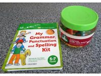 Magnetic letters and numbers, and Grammar, Punctuation and Spelling kit books