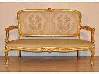 Attractive Large Vintage Carved Gilt Wood French Settee Upholstered Bench