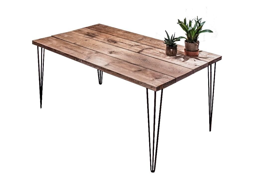 Kitchen Dinning Table With Hairpin LegsIndustrial Rustic Handmade Reclaimed Woodin Hackney, LondonGumtree - This solid, stylish, handmade kitchen tables are crafted at my workshop in Tottenham (Building Bloqs a social enterprise which you can google and find out more about). Theyre made from sustainable, reclaimed wood, sourced throughout East and...