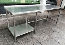 Stainless steel topped catering table