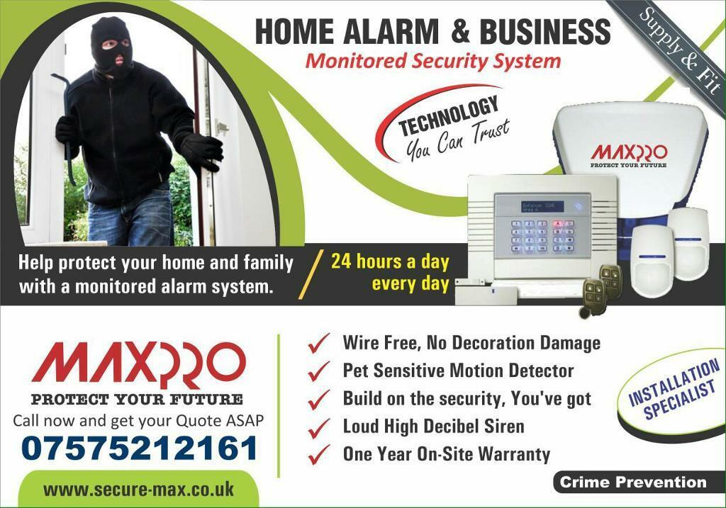 Wireless Intruder Alarm System (1 year warranty with fitting)