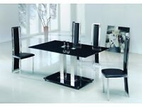 Dining room table - black glass & chrome
