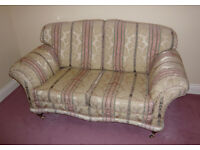 beautiful regency stripe sprun edged two seater sofa in fabulous condition.