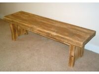 Hand Made Solid Wood Rustic Kitchen Bench