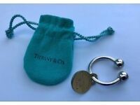 TIFFANY & Co -PLEASE RETURN TO- 925 STERLING SILVER KEY RING TAG FOB CHARM POUCH