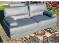 Ex-display Rocco 3 Seater Grey Leather Sofa