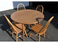 Wooden Oak Round Drop Leaf Kitchen/Dining Table & 4 Chairs