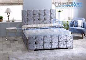 CASH ON DELIVERY**** Brand New Double Crushed Velvet Chesterfield Bed With Wide Range Of Mattress