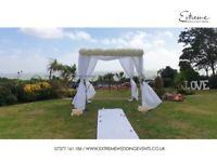 Wedding Decor, Flowerwall, Lights, Backdrop, Chiavari Chair, Throne Chair, Table Linen, Chair Covers