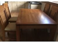 Extendable Dining table & 4 cream faux leather seated chairs - QUICK SALE