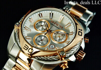Invicta Mens 50mm BOLT SWISS Ronda Z60 Chrono Silver Dial Rose Two Tone SS Watch