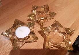 Set of 3 glass t-light holders