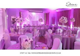 LED BACKDROP, FLOWERWALL, THRONE CHAIR, CENTREPIECE, PARTY DECOR, TABLE CLOTH, LIGHTS, CHIAVARI HIRE
