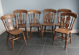 Six Victorian Windsor fiddle Back Kitchen Elm Chairs c1880