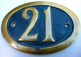 VINTAGE BRASS DOOR PLAQUE WITH NUMBER 21