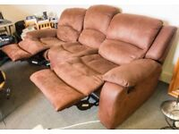 Brown Suede Sofa 3 seats (2 seats recliner)