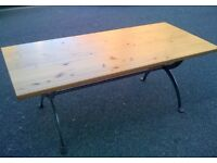 Large Pine Dining Table with Wrought Iron Legs